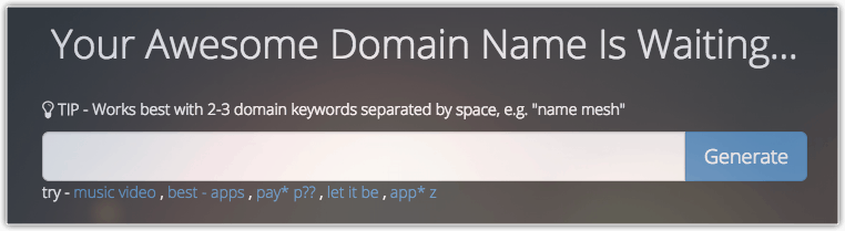 Great domain name generator Namemesh is very easy to get started with.