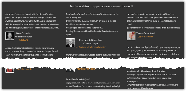 Testimonials - built with Advanced Custom Fields and a few lines of code.